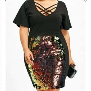 2a3dfadd6326e Dresses   Skirts - Sequins lattice cut plus size bodycon dress